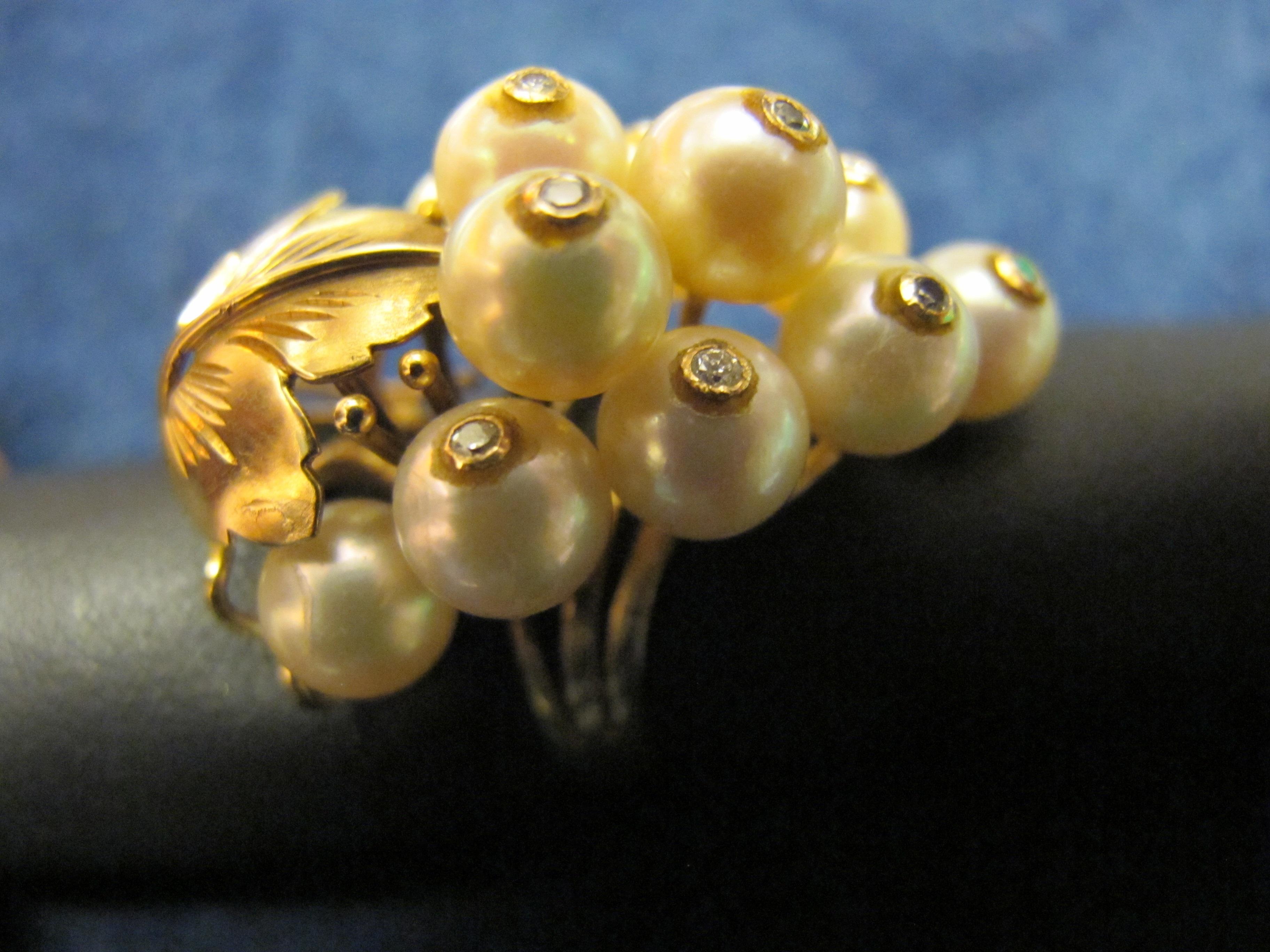 9 anello acini uva oro giallo e perle