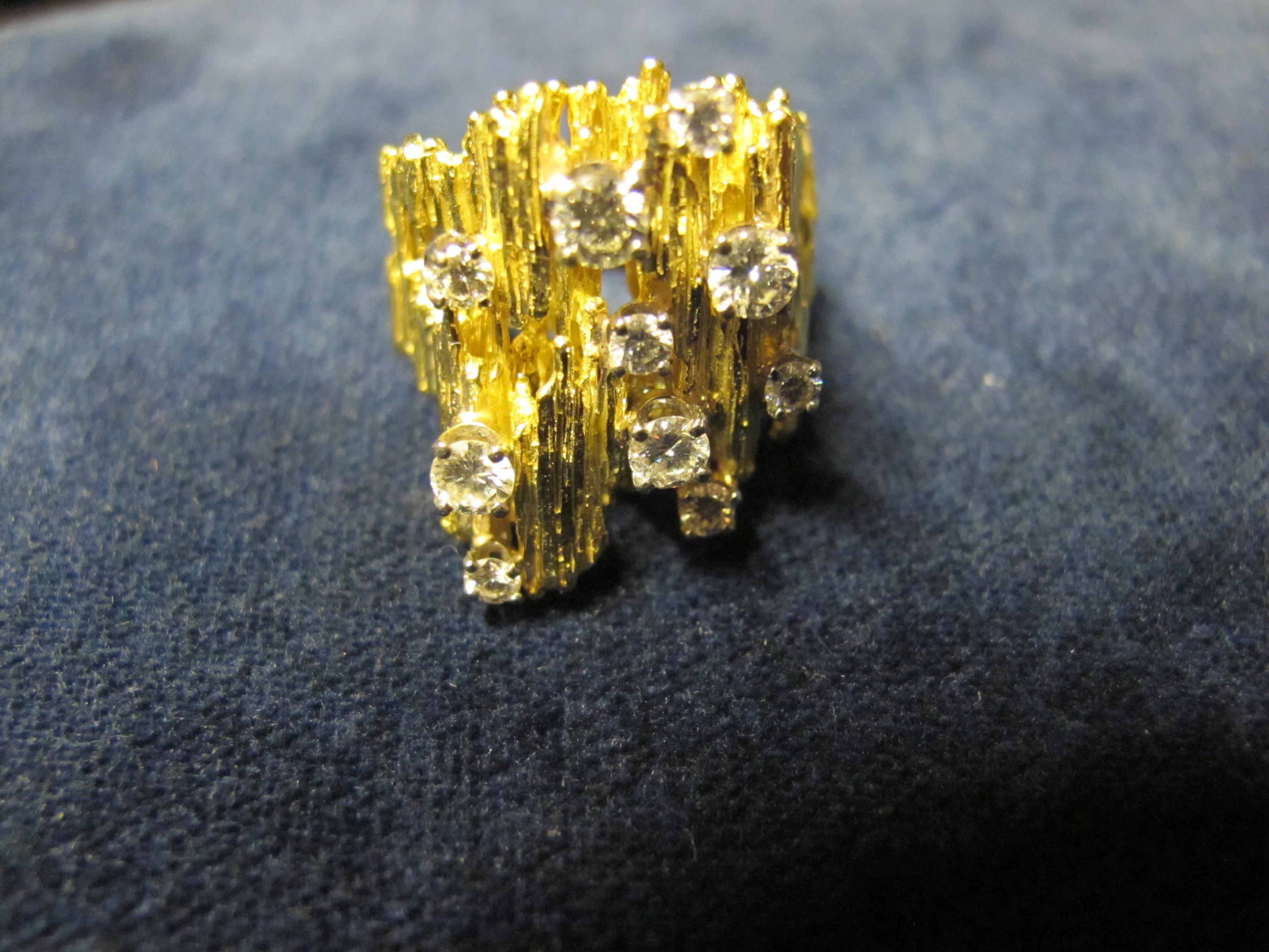 anello oro giallo anni 70 con diamanti