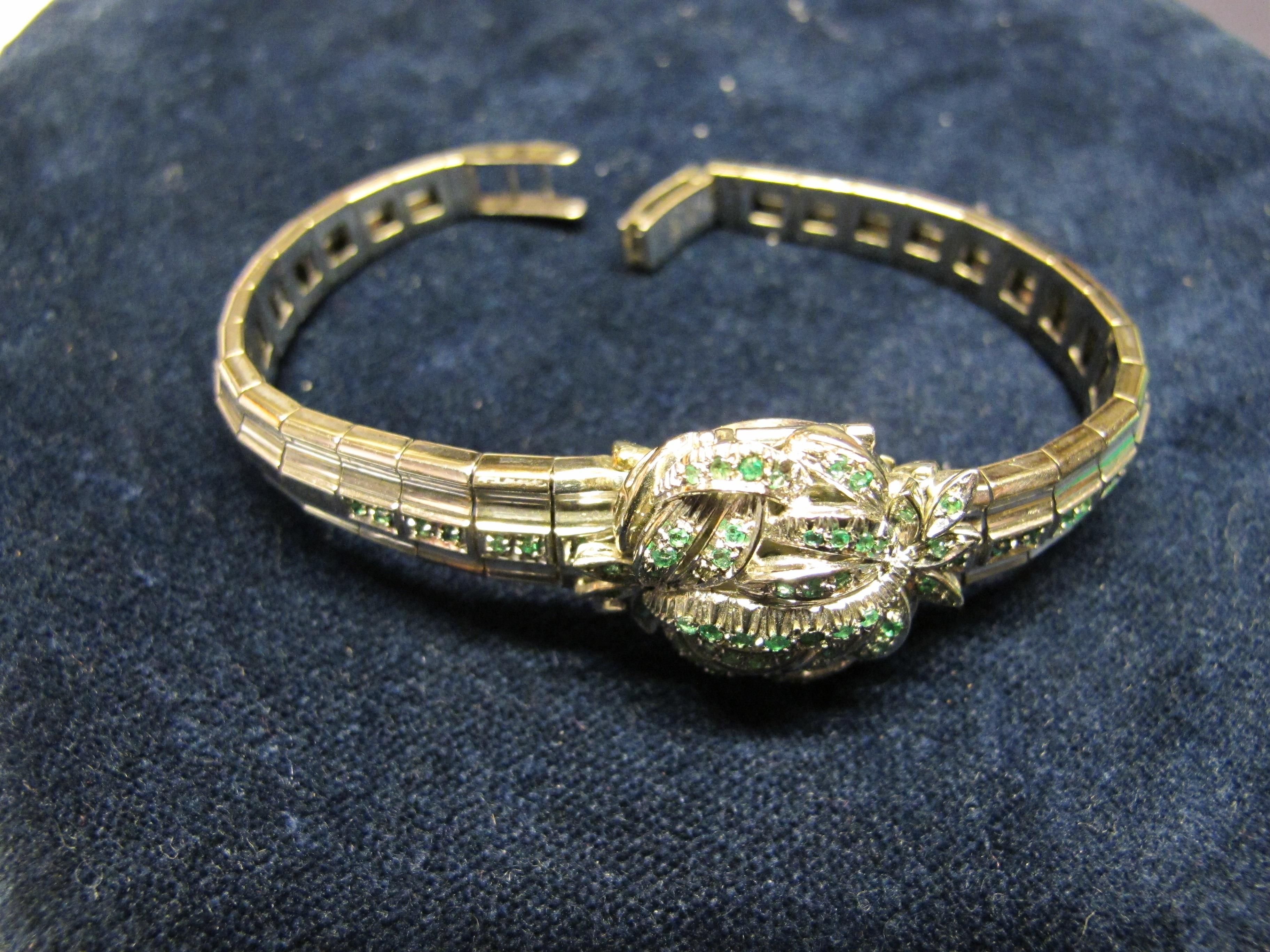 bracciale oro bianco e smeraldi 2