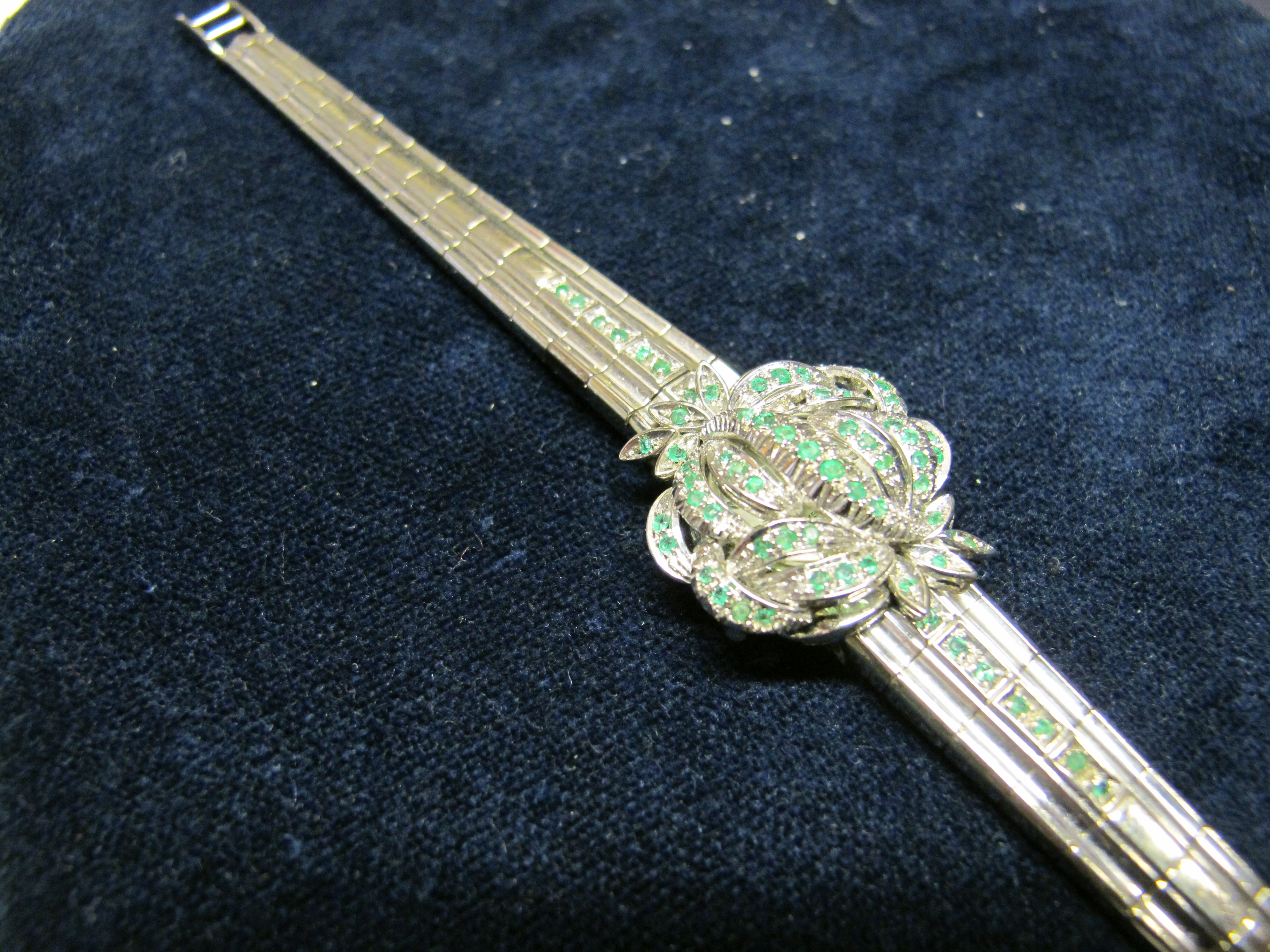 bracciale oro bianco e smeraldi